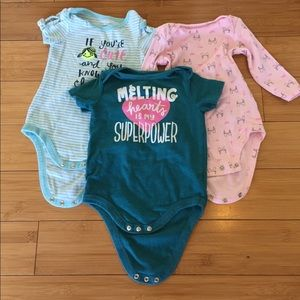 Other - Cute Lot of Three Onesies Baby Girl 6mo